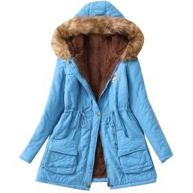 cheelot フォークス毛皮フードで覆われた女性は冬の屋外コート Lake Blue 2XL