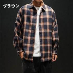 メンズ   秋冬  カジュアルシャツ ゆったり チェック柄シャツ  原宿系  大きいサイズ   ゆったり 長袖シャツ
