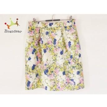 ジャスグリッティー JUSGLITTY スカート サイズ2 M レディース 美品 アイボリー×マルチ 花柄 新着 20190905