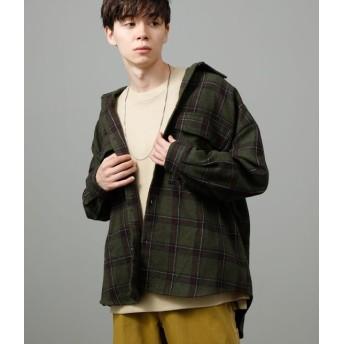ジュンレッド/【予約】/ビッグチェックシャツ/カーキ/L