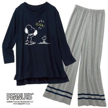 【レディース】 7分袖のゆったりパジャマ(SNOOPY) - セシール ■カラー:ネイビーブルー ■サイズ:M,L,LL,3L