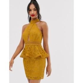 エイソス レディース ワンピース トップス ASOS DESIGN mini dress with high neck and lace trim with peplum Gold
