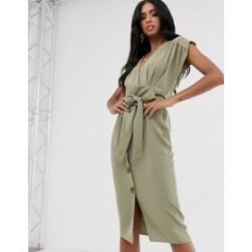 エイソス レディース ワンピース トップス ASOS DESIGN obi belt button through sleeveless midi dress Pale khaki