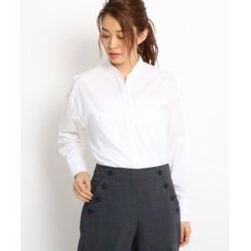 (Dessin/デッサン)【洗える】バンドカラーストライプシャツ/レディース ホワイト(001)
