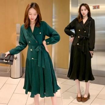 【 L ~ 5XL 】 大きいサイズ レディース シャツ プリーツ スカート ドレス 通勤 お出かけ 4XL 3XL 2XL 70614