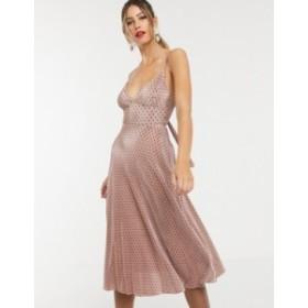 エイソス レディース ワンピース トップス ASOS DESIGN spot plisse cupped strappy midi dress with bow back Multi