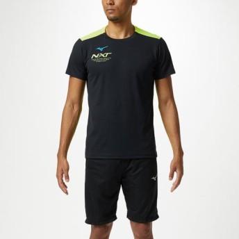 MIZUNO SHOP [ミズノ公式オンラインショップ] N-XT Tシャツ[ユニセックス] 94 ブラック×セーフティイエロー 32JA9215