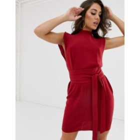 エイソス レディース ワンピース トップス ASOS DESIGN split sleeve mini dress with obi belt Rio red