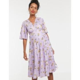 エイソス レディース ワンピース トップス ASOS DESIGN Maternity kimono pleated midi dress in lilac floral Multi
