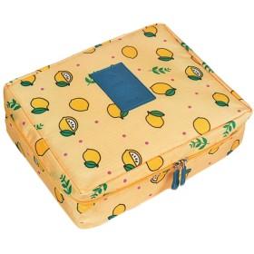 (ジャンーウェ)収納ケース メイクポーチ 大容量 化粧ポーチ 化粧品 収納 雑貨 小物入れ ボックス トラベルバッグ 持ち手 防水 花柄 レモンプリント かわいい イエロー
