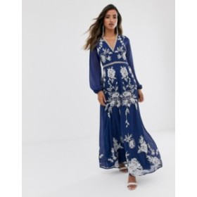 エイソス レディース ワンピース トップス ASOS DESIGN maxi dress with split sleeve in ocassion embroidery and circle trim Navy emb