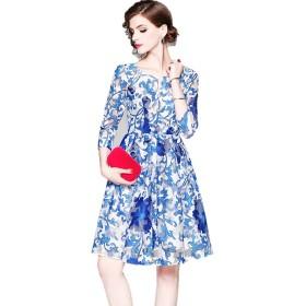 レディース ワンピース 花柄 Vネック メッシュ フレアスカート ミディアムドレス ひざ下 長袖 K15696 (XL)