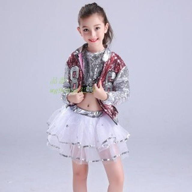 ダンス衣装 スパンコール キッズ スカート+ジャケット セットアップ ジャッズ tシャツ 上下 ヒップホップ キラキラ 演出服 舞台 子ども