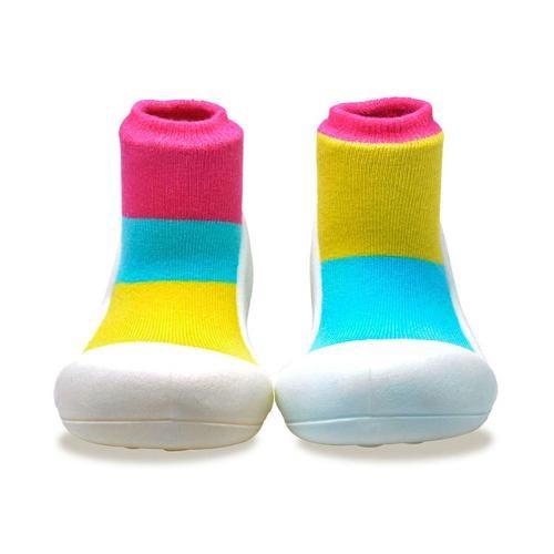Attipas 快樂腳襪型學步鞋-居家粉紅
