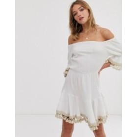 エイソス レディース ワンピース トップス ASOS DESIGN tassle off shoulder mini smock dress White