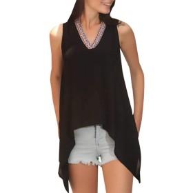 maweisong 女性コットンチュニックルーズカジュアルタンクカミノースリーブTシャツ Black L