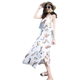 YiTongレディース ワンピース 花柄 ロングスカート上質 ボヘミアン ボヘミアン 可愛い 夏 ロング ドレス カジュアル ファッション かわいい ワンピース サルエルCU