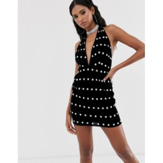 エイソス レディース ワンピース トップス ASOS DESIGN halter neck velvet embellished mini dress Black