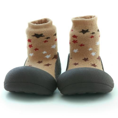 Attipas 快樂腳襪型學步鞋-褐底星空