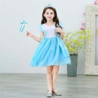 AD186ディズニープリンセス 子供用ドレス エルサ雪の女王 なりきりワンピース プリンセスドレス 子どもドレス