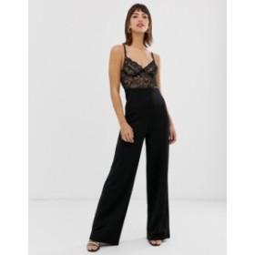リバーアイランド レディース ワンピース トップス River Island jumpsuit with lace corset detail in black Black