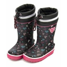 レインブーツ 長靴 女の子 キッズ 子供靴 ドローコード 反射材 防水 ノースウィング NORTH WING 117001 ブラック