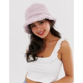 エイソス レディース 帽子 アクセサリー ASOS DESIGN borg bucket hat in lilac Lilac