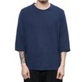 ZUOMA メンズ Tシャツ 中国風 復古 ゆとり お洒落 五分丈 薄手 麻 夏 秋 カジュアル 流行るネイビーL