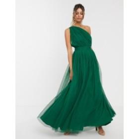 エイソス レディース ワンピース トップス ASOS DESIGN one shoulder tulle maxi dress Green