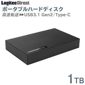 外付けHDD ポータブル1TB USB3.1 Gen2 Type-C タイプC ハードディスク【LHD-PBR10UCBK】