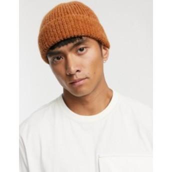 エイソス メンズ 帽子 アクセサリー ASOS WHITE mini fisherman beanie in alpaca yarn in rust Autumnal