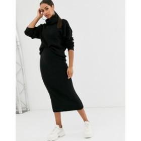 エイソス レディース スカート ボトムス ASOS DESIGN chunky ribbed midi skirt in recycled blend Black
