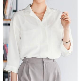 50%OFF【レディース】 ゆったりスキッパーシャツ(制菌加工) - セシール ■カラー:オフホワイト ■サイズ:M,L,LL,S