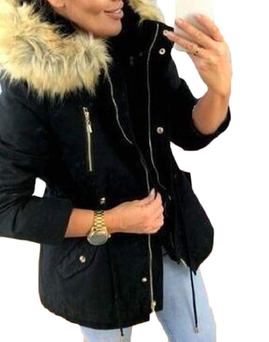 YUNY Men Thick Oversized Hoode Fur Collar Regular Fleece Outdoor Coat Lake Blue S