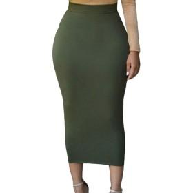 Valoda 女性弾性ウエストストレッチbodyconクラブ固体マキシスカート Green US M