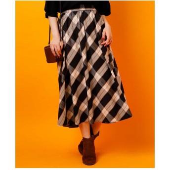 eur3 【大きいサイズ】ハウスチェックギャザースカート ロング・マキシ丈スカート,ブラック