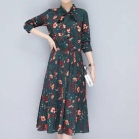 ワンピース ワンピ レディース ひざ丈 大きいサイズ 7分丈袖 リボンタイ フラワープリント 花柄 ワンピース ワンピ プリーツスカート