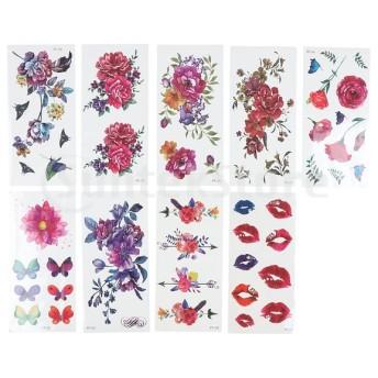 ボディーアートの入れ墨のための9部分3Dの蝶の花の一時的な入れ墨のステッカー