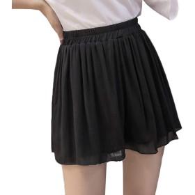 [えみり] ミニスカート 花柄 ウエストゴム シフォン レディース キュロット プリーツ プリントスカート 夏 フレア ショートパンツ 可愛い Cライン ふんわり ゆったり ブラックC3XL