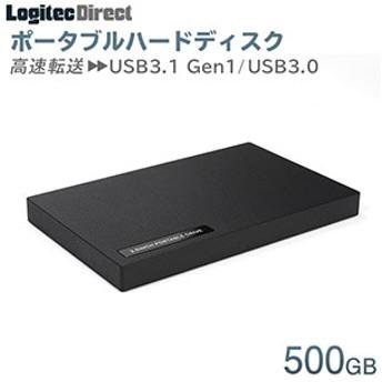 外付けHDD ポータブル 500GB USB3.1(Gen1) / USB3.0 ハードディスク【LHD-PBR05U3BK】