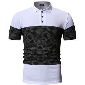Nicircle 半袖 Tシャツ メンズ トップス マッチング おしゃれ 快適な ステッチカラー スリム スプライス カジュアルス ポーツラペル シャツ スプライスカラー 人気 カジュアル