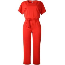 GUOCAI 女性のワイド脚palazzoルーズ半袖カジュアルベルトロンパースジャンプスーツ Red US M