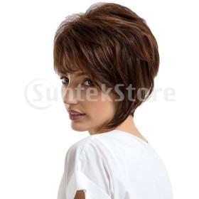 女性の短いかつら人間の髪のマロンふわふわ層ストレートウィッグ熱OK