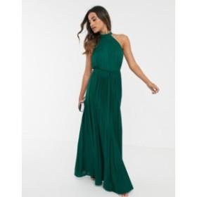 エイソス レディース ワンピース トップス ASOS DESIGN Halter Pleated Waisted Maxi Dress Forest green