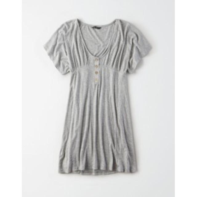 アメリカンイーグル レディース ワンピース トップス AE Studio Button Front Babydoll Dress Gray