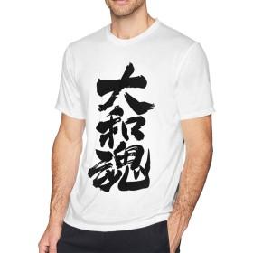 Tシャツメンズ 文字 大和魂 半袖 トップス 無地 薄手 個性的 ジョギングト レーニング シンプル カジュアル 吸汗 薄手 通勤 通学 運動 日常用