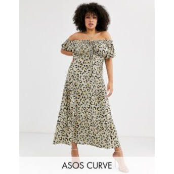 エイソス レディース ワンピース トップス ASOS DESIGN Curve bardot maxi dress in animal print Animal print