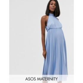 エイソス レディース ワンピース トップス ASOS DESIGN Maternity Halter Pleated Waisted Midi Dress Dusky blue