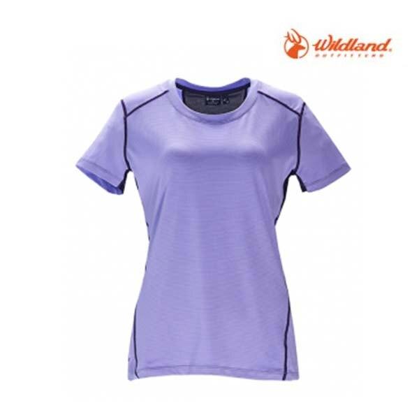 《台南悠活運動家》WILDLAND OA71617-57女彈性條紋拼接圓領上衣 淺紫色