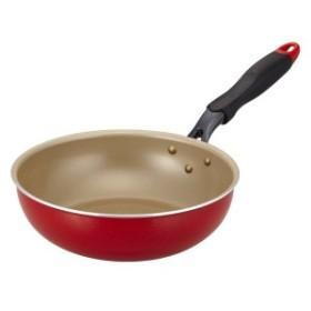 エバークック 炒め鍋 24cm IH対応 レッド 1年保証 ドウシシャ